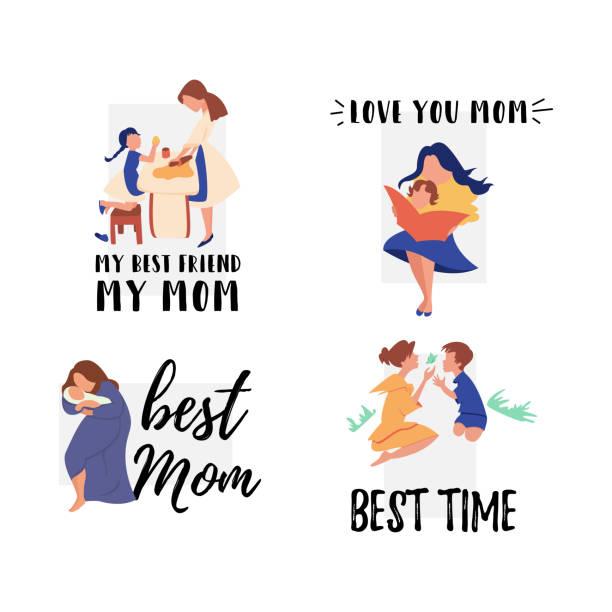 Vector Flachbanner gesetzt Mama singt Lied Baby – Vektorgrafik