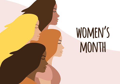 Vector flat banner with different women and women month lettering