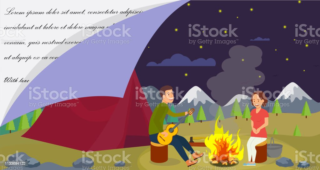 Vector Flat Banner Young Family Went Camping. Husband Plays Guitar...