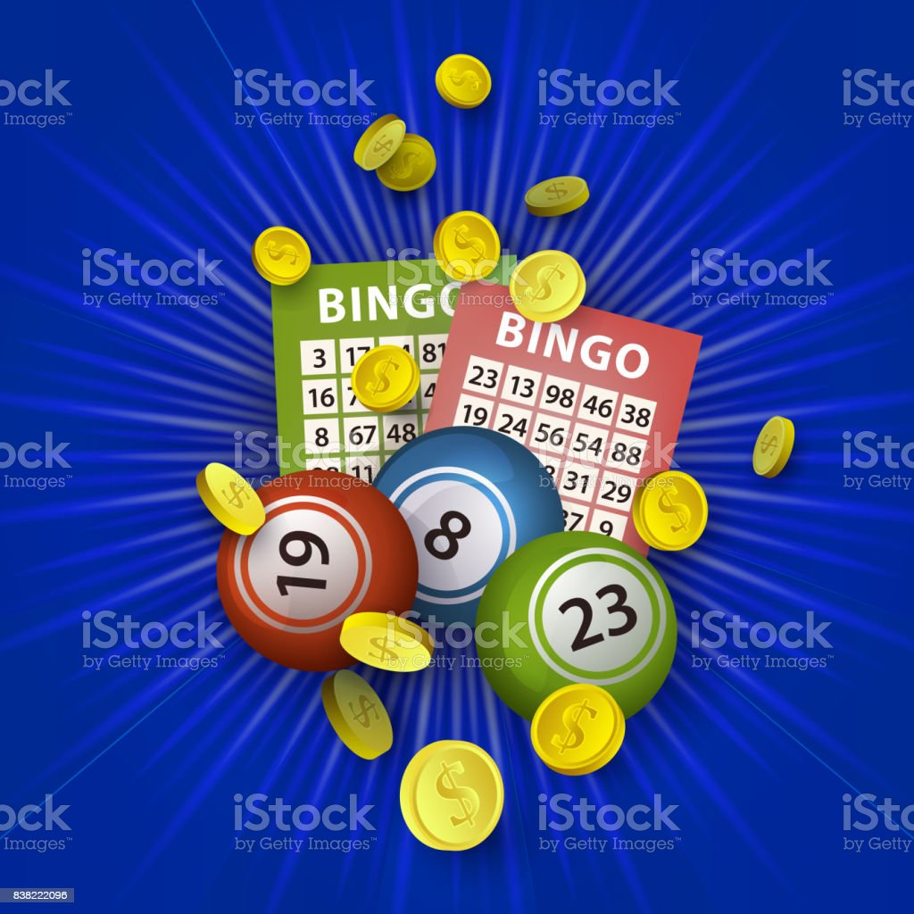 vector flat bingo lottery balls, tickets, money vector art illustration