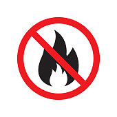 Vector flat black fire icon crossed in red circle. No fire sign isolated on white background