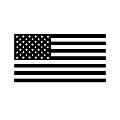 Vector flat black the USA American flag isolated on white background
