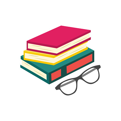 Vector flat book pile or column with glasses