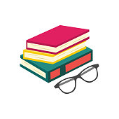 Flat book pile or column and glasses top view. Paper symbol of education, library literature and wisdom. School, college or university studying equipment. Vector isolated illustration.