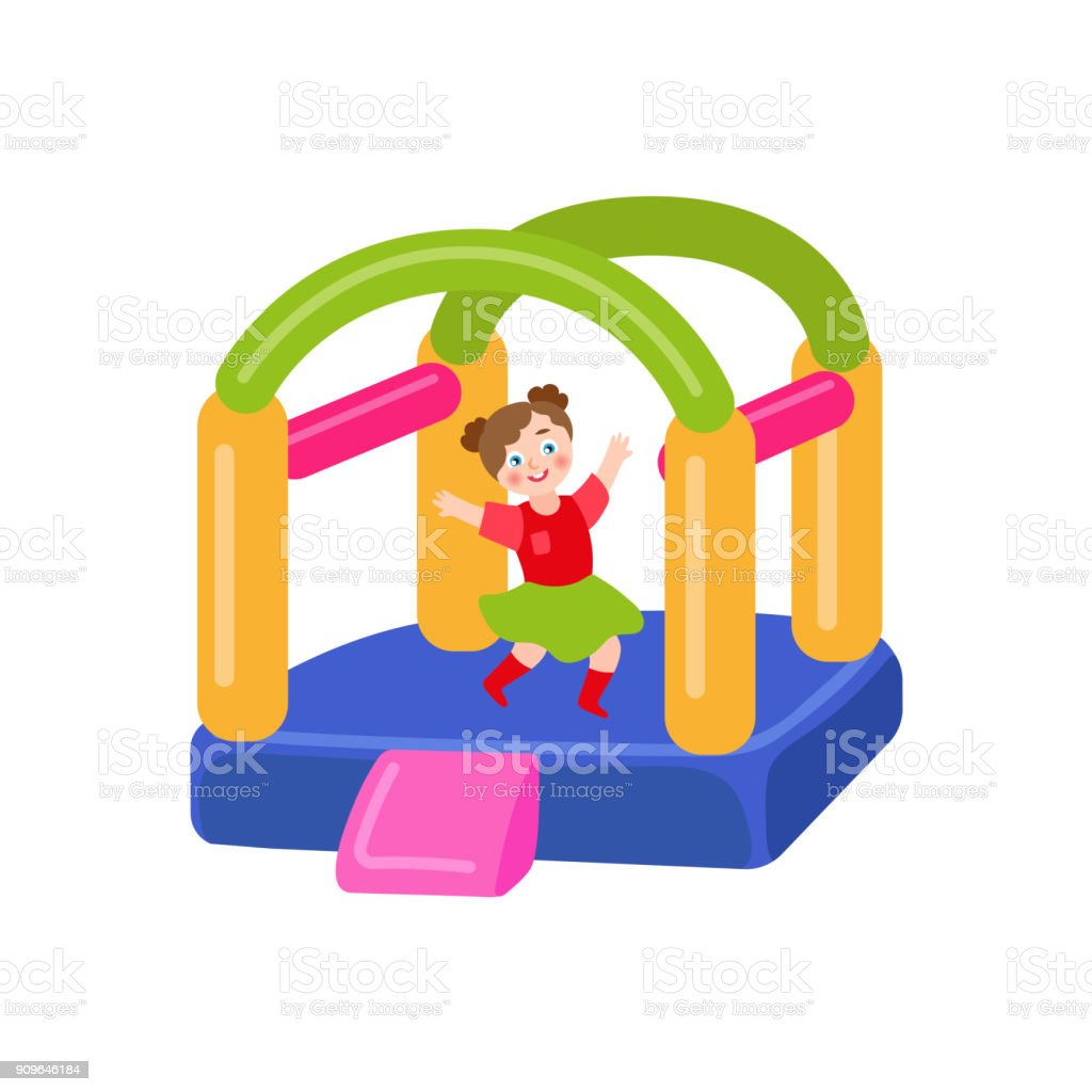 vector flat bouncy inflatable castle and girl vector art illustration