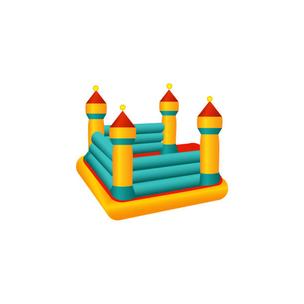 vector flat bouncy inflatable castle trampoline vector art illustration