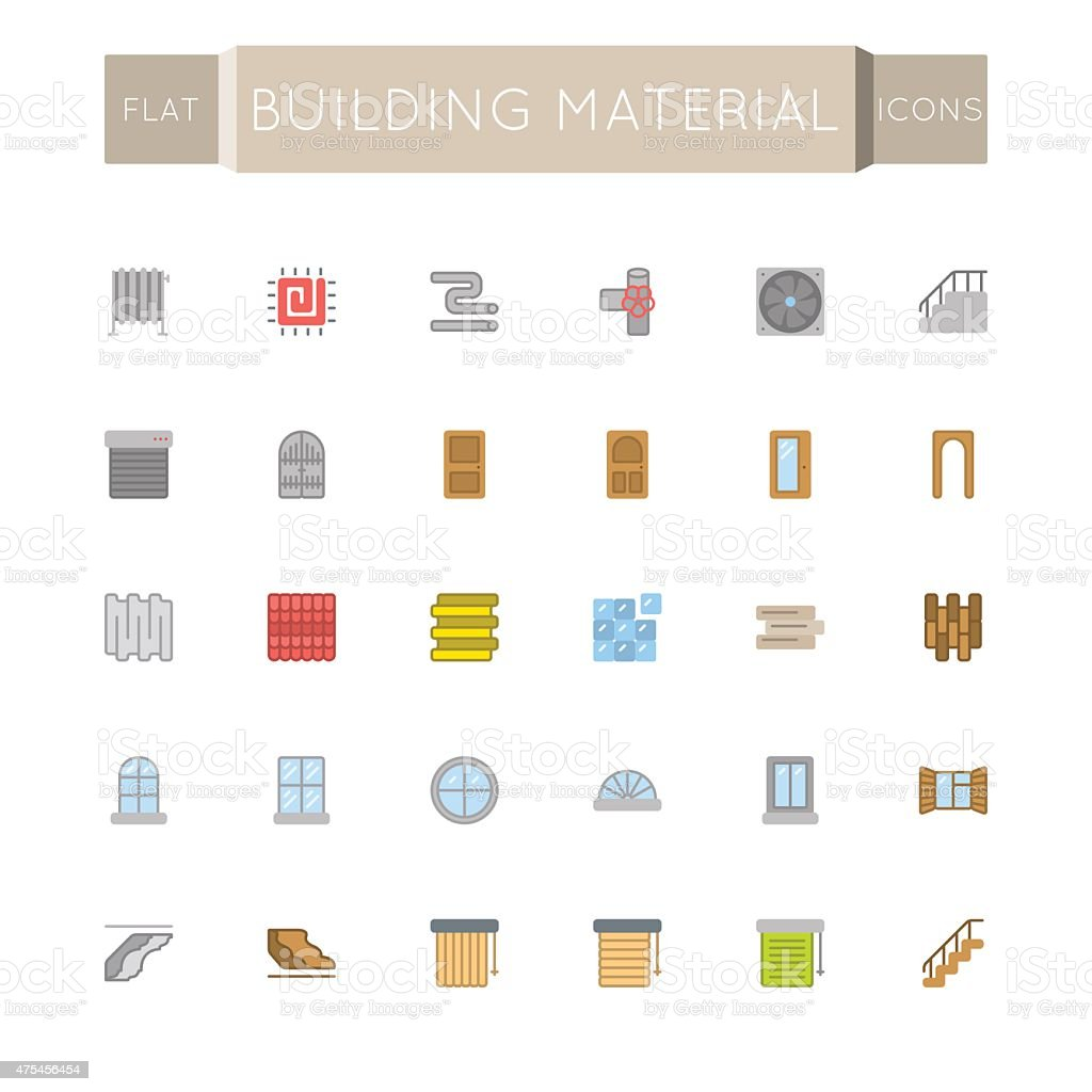 Vector Flat Building Material Icons vector art illustration