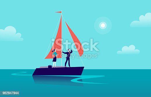 istock Vector flat business illustration with businessman & lady sailing on ship through ocean on blue clouded sky background. Motivation, achievements, new goals, aspiration, leadership, winner - metaphor. 952947944