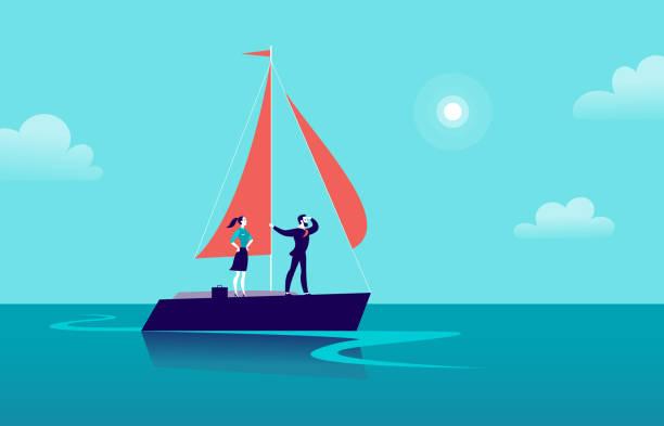 stockillustraties, clipart, cartoons en iconen met vectorillustratie platte business met zakenman & dame zeilen op het schip door de oceaan op blauwe bewolkte hemelachtergrond. motivatie, prestaties, nieuwe doelstellingen, aspiratie, leiderschap, winnaar - metafoor. - woman water