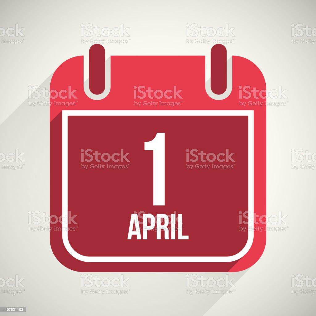 Vector flat calendar apps icon. 1 april fool's day vector art illustration