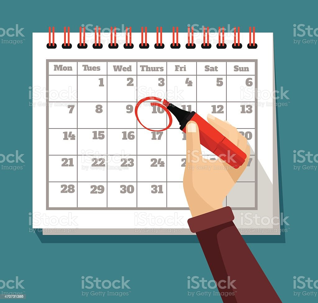 Vector flat calendar illustration vector art illustration