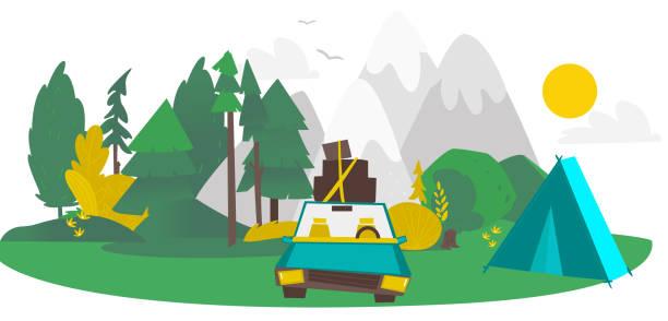 vektor flachen camping, straße reise szene - dachzelt stock-grafiken, -clipart, -cartoons und -symbole