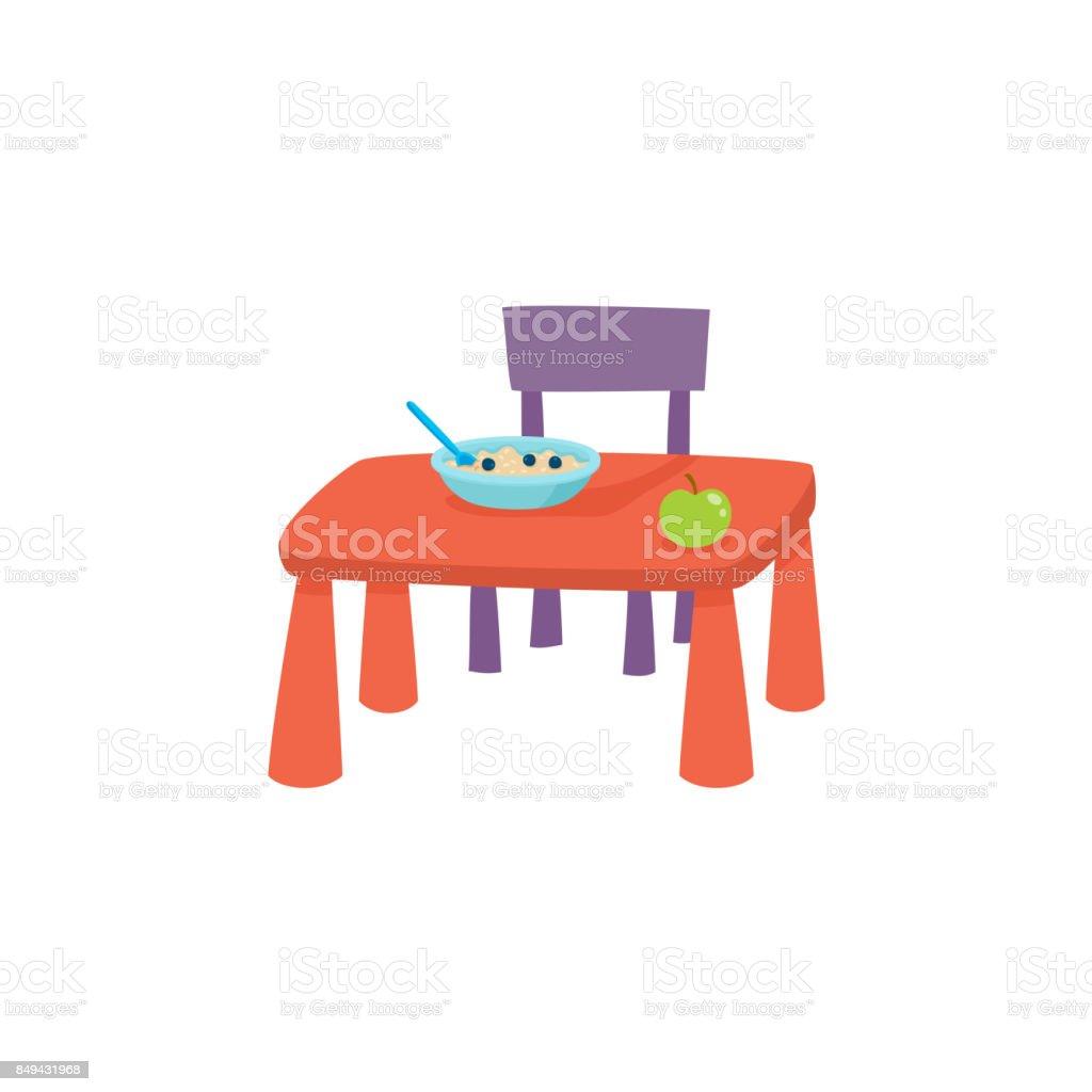 Baby Tafel Stoel.Vector Platte Cartoon Baby Tafel En Stoel Stockvectorkunst En Meer