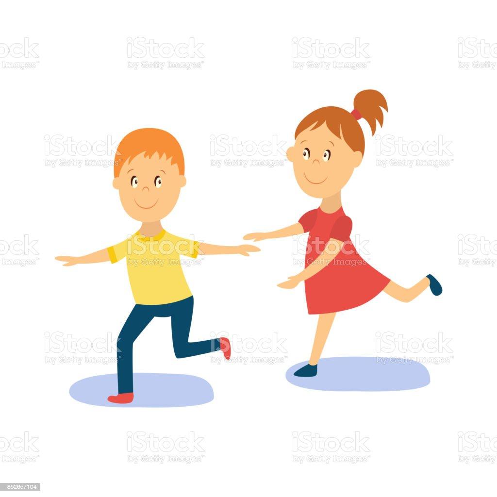 Vector Flat Cartoon Boy Girl Kid Dancing Isolated Royalty Free
