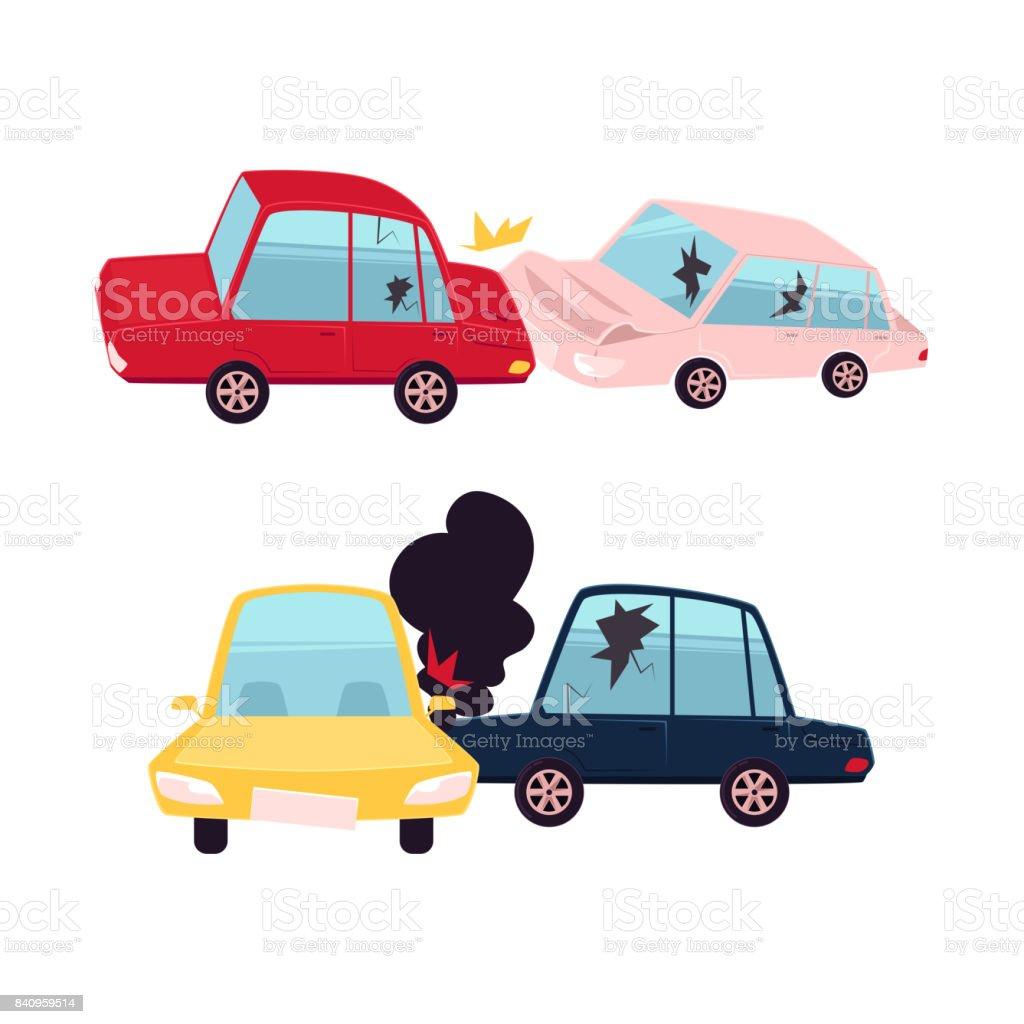 vector flat cartoon car accident isolated vector art illustration