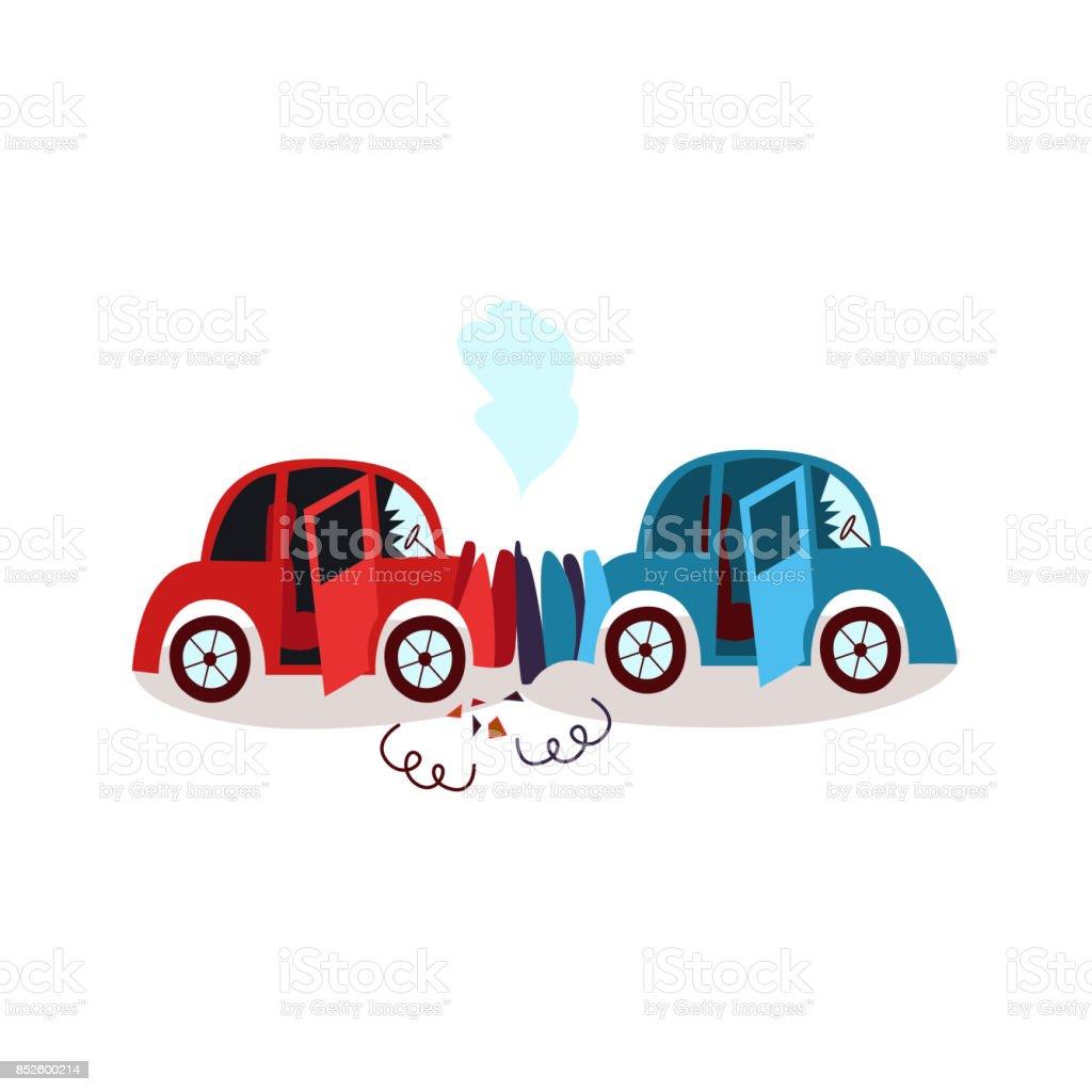 Accident de voiture de dessin anim plat vecteur isol cliparts vectoriels et plus d 39 images de - Accident de voiture dessin ...