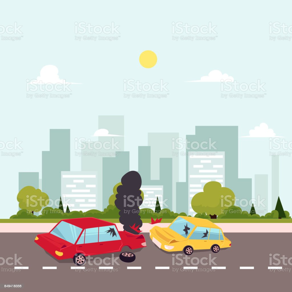 vector flat cartoon car accident scene vector art illustration
