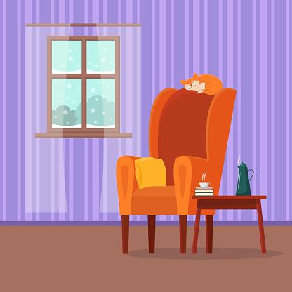 Vector Flat Cartoon Cosy Interior Of Living Room Stock ...