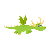 vector flat cartoon funny green dragon kid with horns and wings flying. Isolated illustration on a white background. Fairy mysterious cute creature character for your design