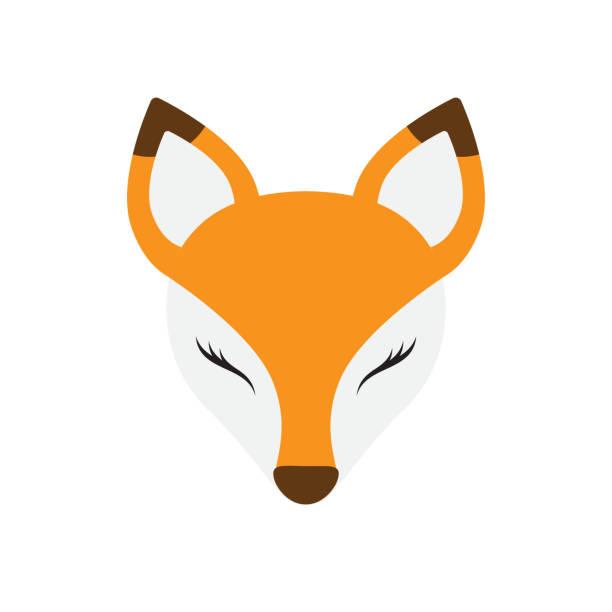 stockillustraties, clipart, cartoons en iconen met vector platte cartoon fox gezicht - festival logo baby