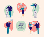 Vector flat cartoon illustration with business people office characters isolated on light background. Different business situation metaphors - achievements, planning, motivation, growth, partnership.