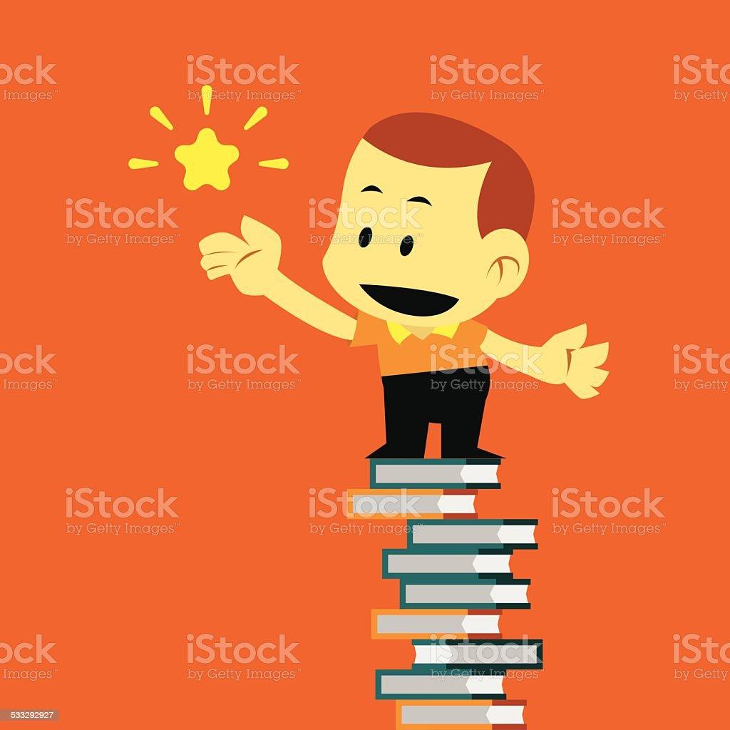 Vector Flat Cartoon Kid and Successful in Education. vector art illustration