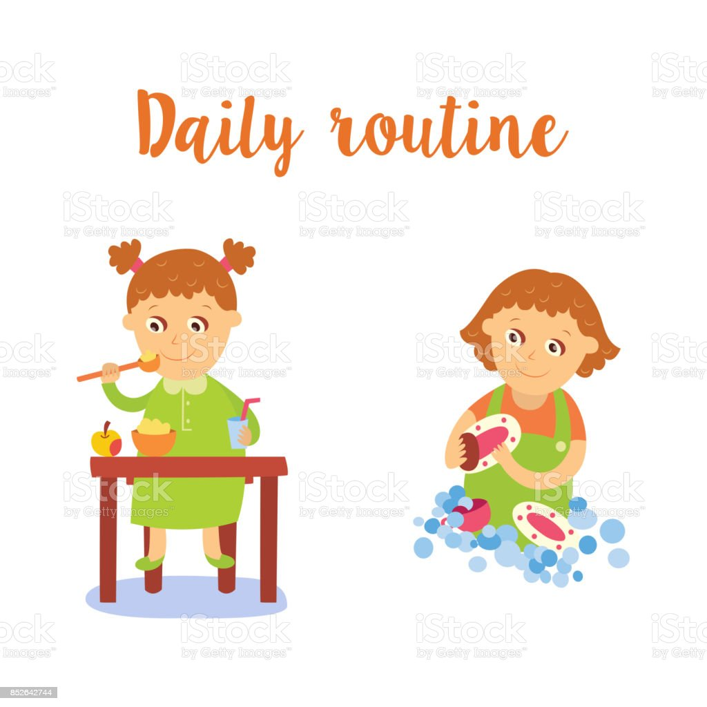 vector flat cartoon kid doing routine activity set vector art illustration