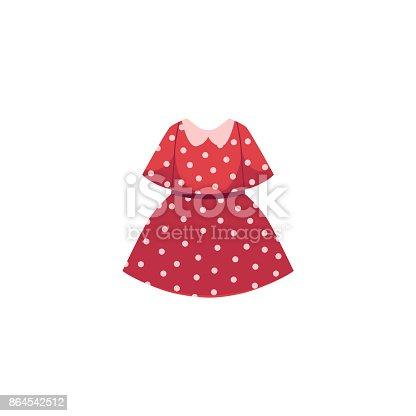 istock vector flat cartoon kid girl red dotted dress 864542512