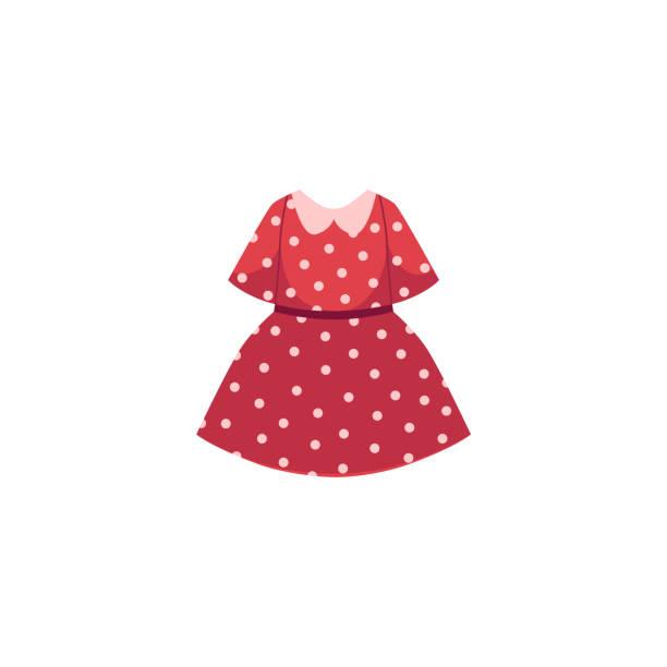 벡터 평면 만화 아이 소녀 빨간 점선 드레스 - 드레스 stock illustrations