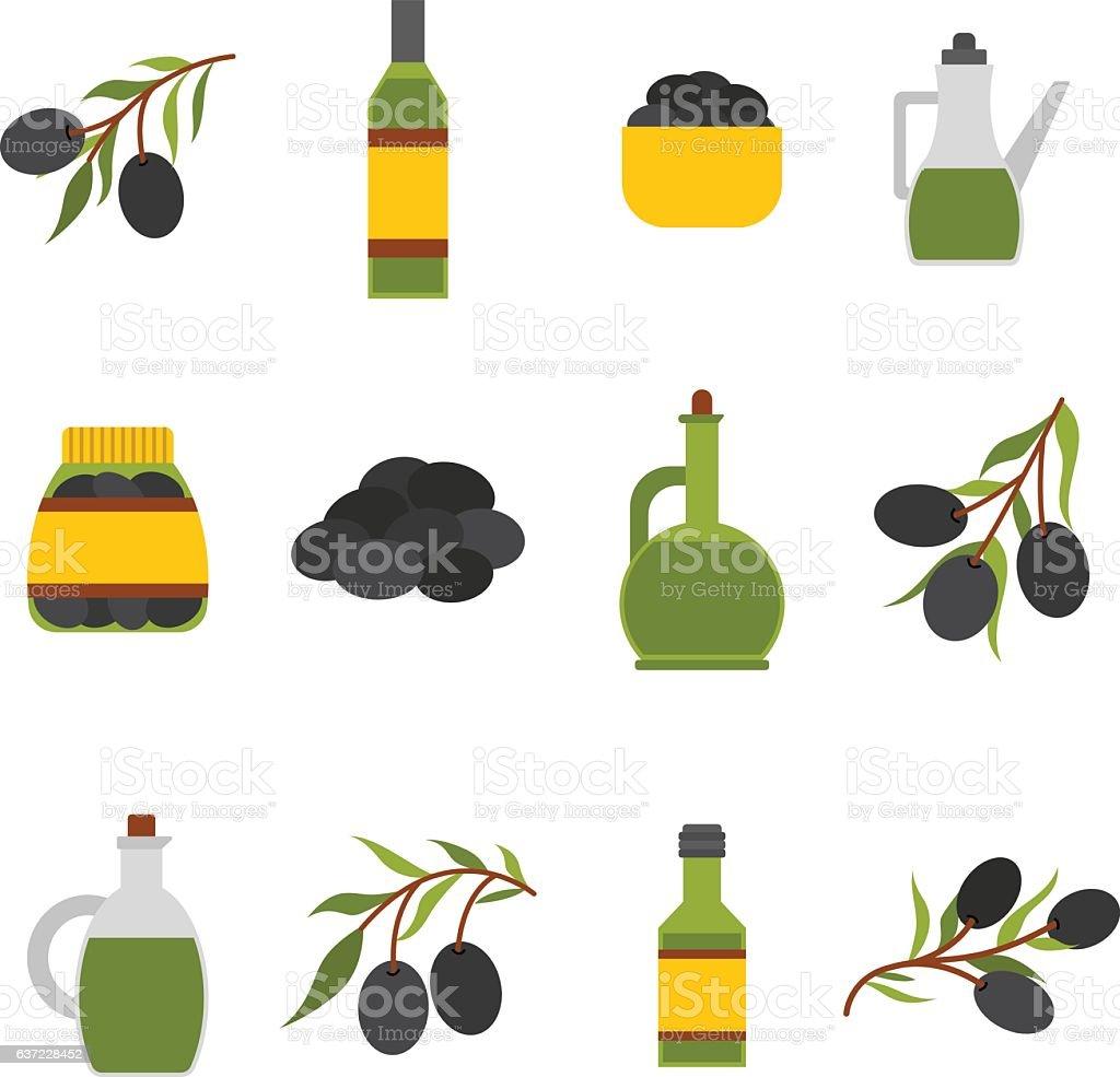 Vector flat cartoon oil bottle and olives - ilustração de arte vetorial
