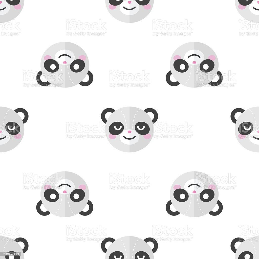 Ilustración de Vector Plano Panda Cabezales Patrón Sin Costuras De ...