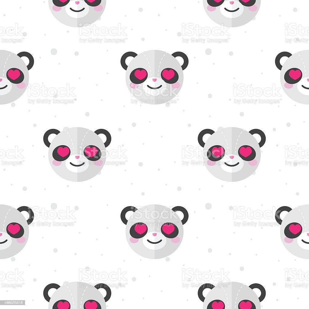 Ilustración de Vector Flat Historieta Oso Panda En Amor Patrón Sin ...
