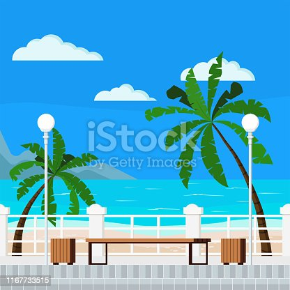 Vector flat cartoon style illustration of blue sea with quay, mountains, clouds, palms, bench, treshcan, street lantern, paving slabs, sand - beach summer background. Beautiful seacoast backdrop.