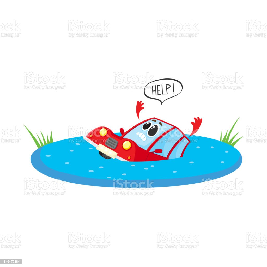 Vector Flat Cartoon Stylized Drowing Car Stock Vector Art & More ...