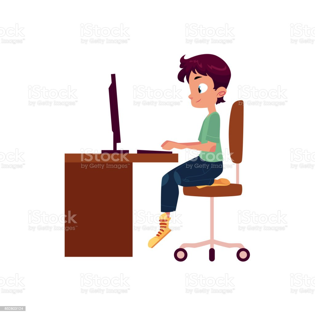 vector flat cartoon teen boy at computer desk vector art illustration