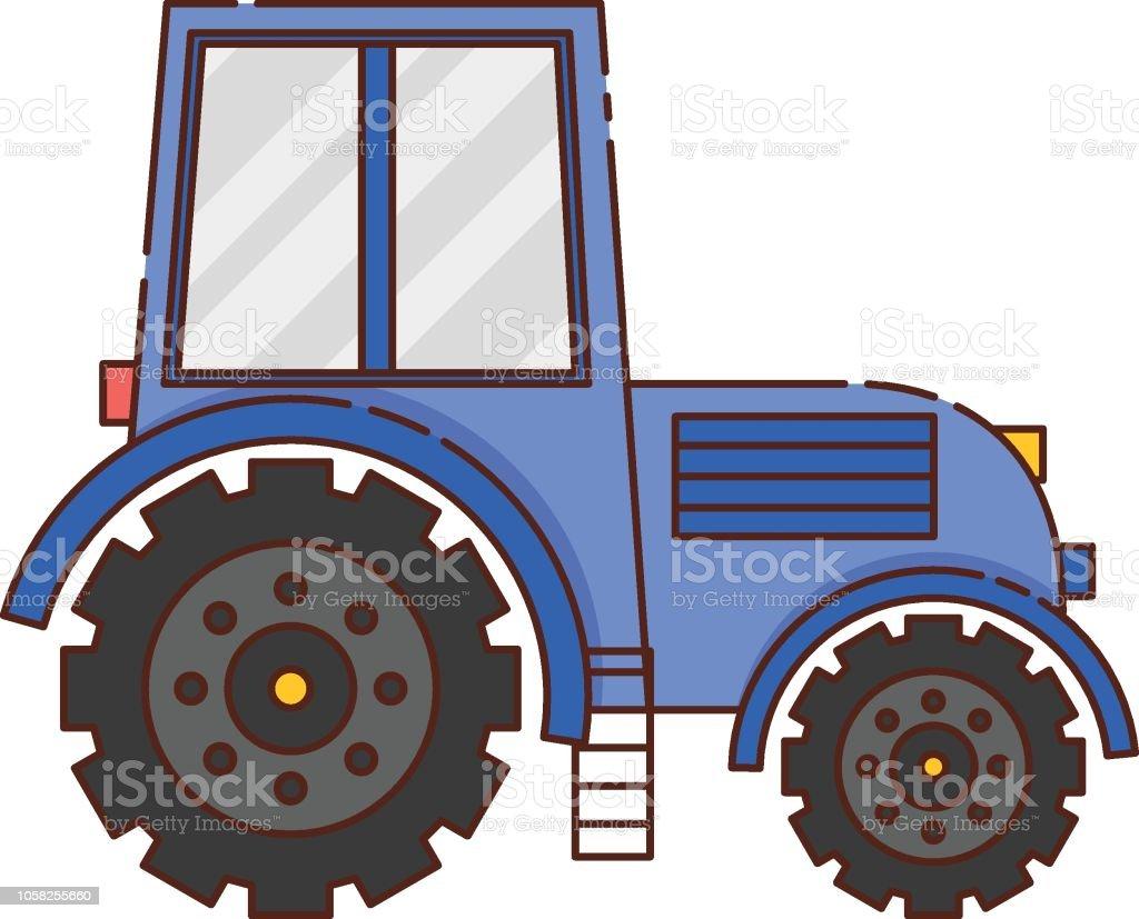 Vektor Flache Cartoon Traktor Auf Weißem Hintergrund Stock Vektor