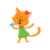 vector flat cat character singing in microphone