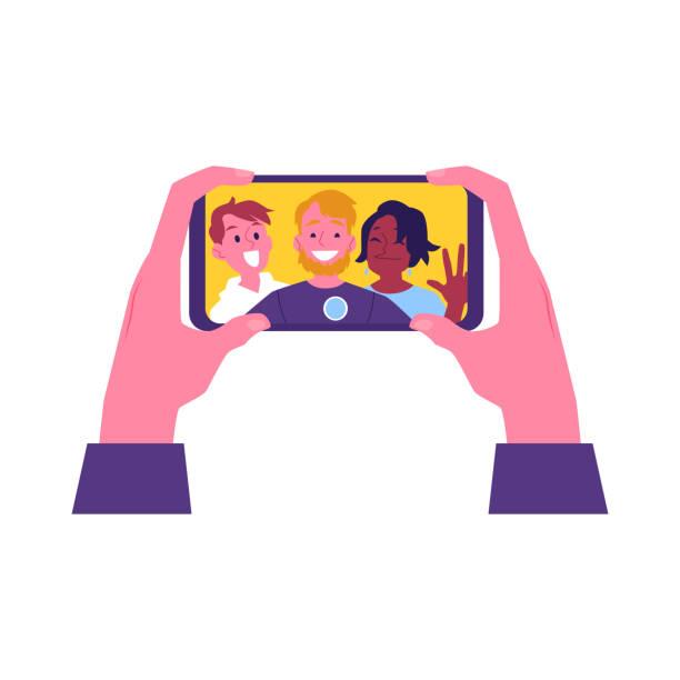 illustrazioni stock, clip art, cartoni animati e icone di tendenza di vector flat cheerful friend making selfie together - video call