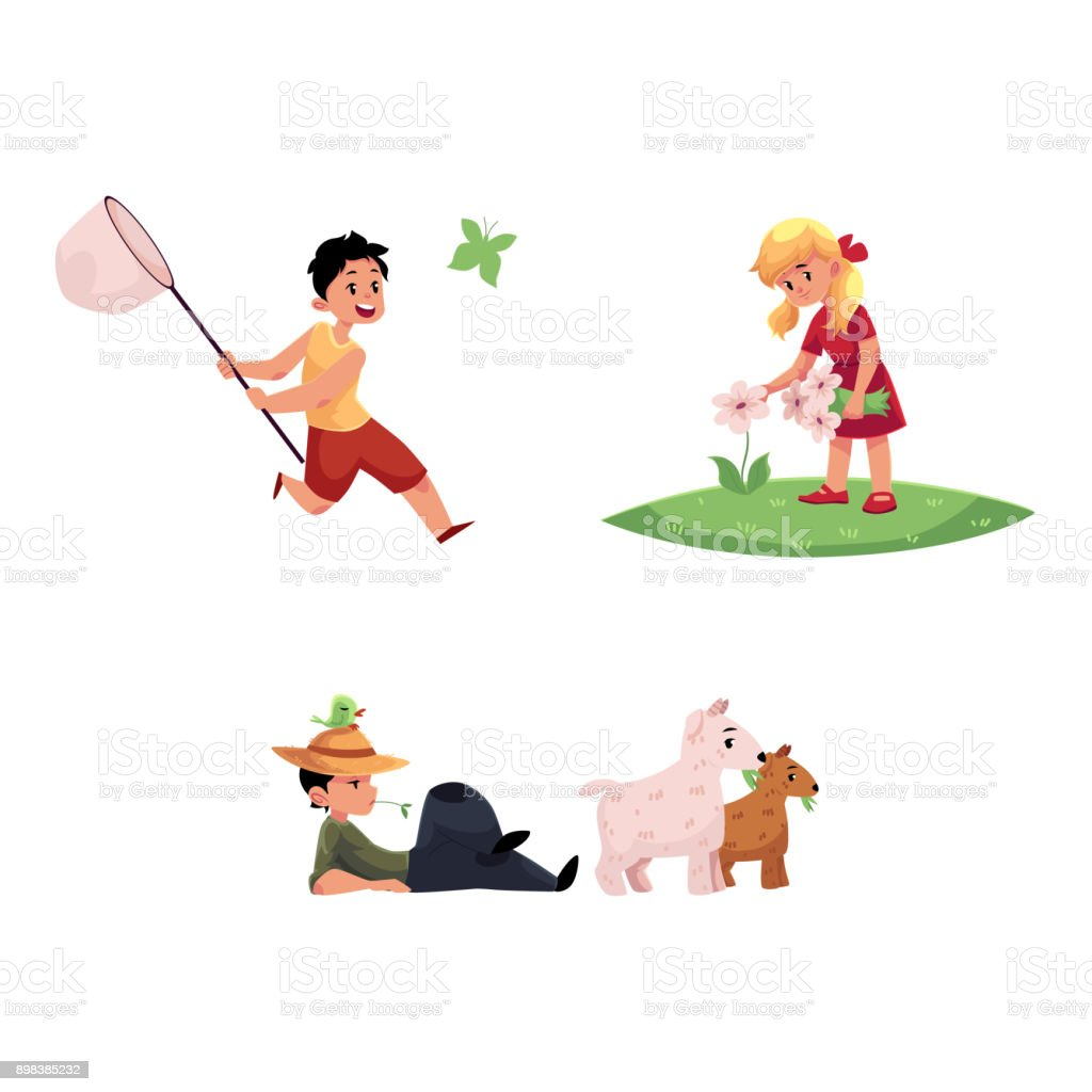 vector flat children at countryside scenes set vector art illustration