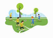 Vector Flat Children Championship in Park on Football Field. Soccer Game Yellow Against Blue 13 Number Shouts Give Pass Background City Parents Day See How Children Play in Different Sports.