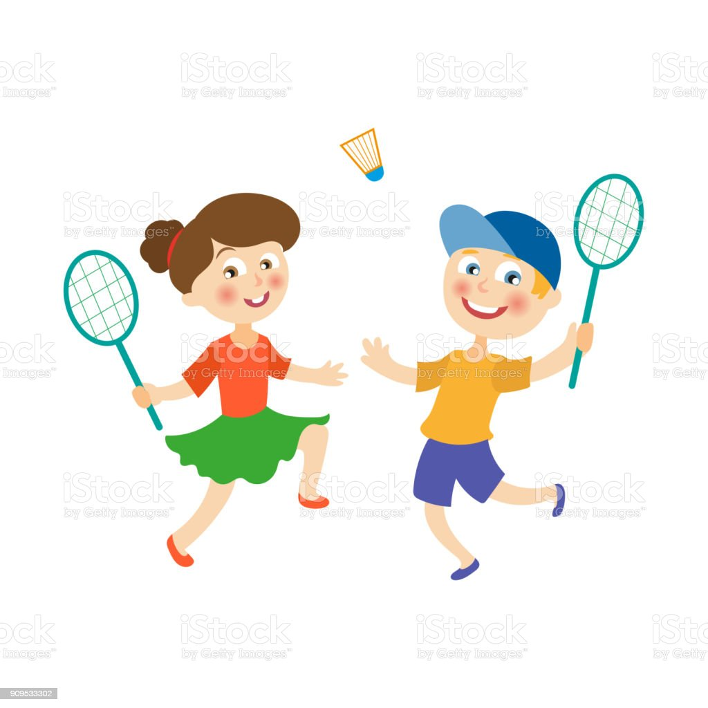 vector flat children playing badminton shuttlecock vector art illustration