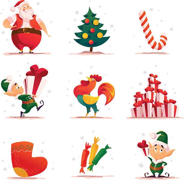 stockillustraties, clipart, cartoons en iconen met vector flat christmas elf portrait set. - chicken bird in box