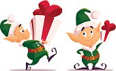 Vector flat christmas santa claus elf character portrait isolated.