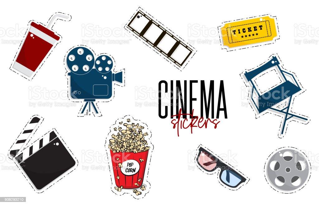 Vektorflache Kino Aufkleber Film Kameras Eintrittskarten Popcorn ...