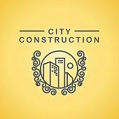 Vector flat city architect studio logo design isolated on white background. Urban architect bureau insignia icon. Building company, construction industry brand mark icon.