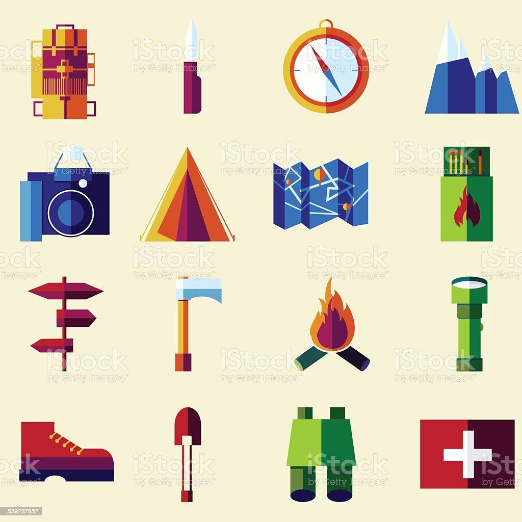 Plano Vector de conjunto de iconos de color. ilustración de plano vector de conjunto de iconos de color y más banco de imágenes de actividad libre de derechos