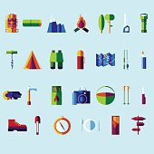 Vector flat color icon set. Picnic, travel and camping theme.