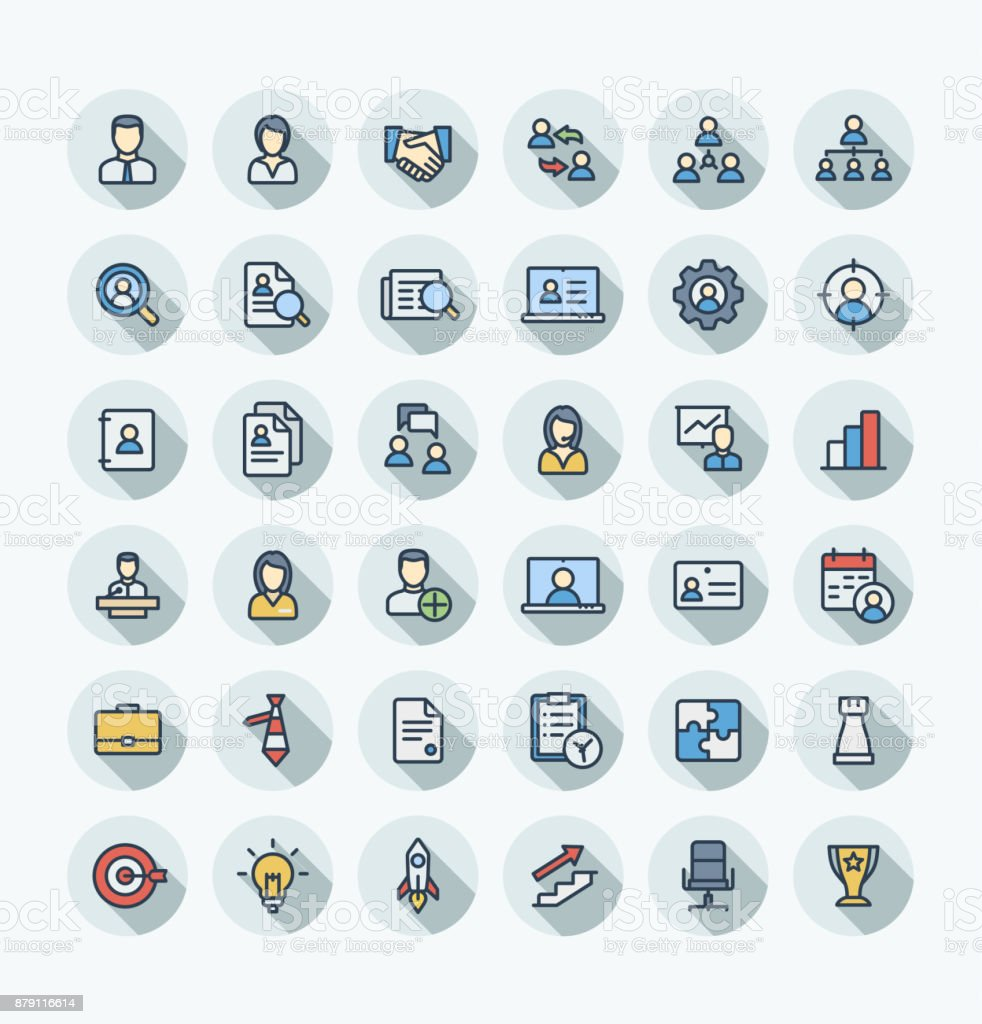 Vector flat color thin line icons set business and management outline symbols. vector art illustration