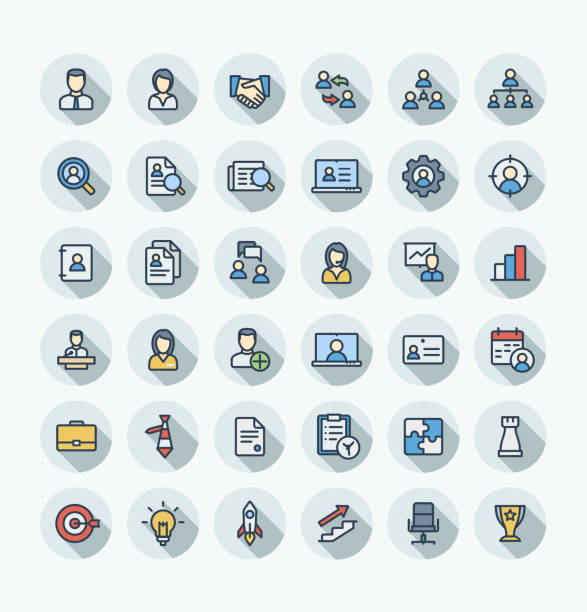 vector flat color thin line icons set business and management outline symbols. - color image stock illustrations