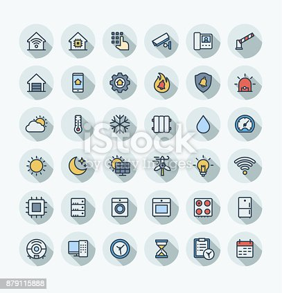 Vector flat thin line icons set, graphic design elements. Home, smart house, outline symbols illustration. Robot vacuum cleaner, oven, device, security, wireless remote control system color pictogram